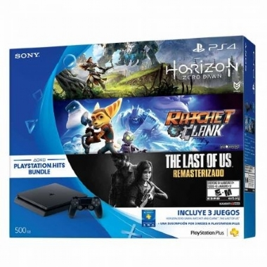 CONSOLE SONY PLAYSTATION 4 SLIM 500GB BUNDLE HORIZON ZERO DAWN, RATCHET AND CLANK E THE LAST OF US