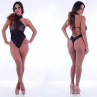 Body sexy tule com renda